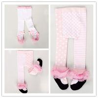 Wholesale Baby Ballet Socks - Eurpean Style Girls Pantyhose Autumn Girls Dance Ballet Leggings Kids Pants Baby Full Cotton Bow Stripe Dots Tights Princess Long Socks 9524