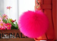 Barato Bola Corrente Lagosta-Fashion Designer Soft Rabbit Fur Ball Chaveiro Fur Ball Pom Plush Keychain Chaveiro do carro Ring Bag Brincos Lobster Clasp Chaveiro Acessórios