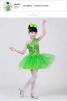 Wholesale Yellow Latin Performance - Free ship children girls blue green yellow pink red sequined tutu latin dance dress luxury dance fairy stage performance dress