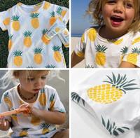 размер ананаса оптовых-2016 новое лето дети полный лимон футболка с коротким рукавом ананас печатных мальчики девочки хлопок фрукты футболка детская Детская одежда размер 80-120 см