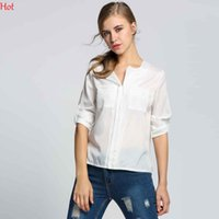 Wholesale Womens Blouses Sale - Perspective Summer Ladies Blouses Popular Chiffon Casual Womens Blouses with Pockets Long Sleeve Lapel Neckline Sale SV002219