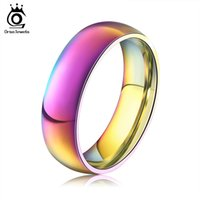 Wholesale Titanium Rainbow - ORSA Classic Men Women Rainbow Colorful Ring Titanium Steel Wedding Band Ring Width 6mm Size 6-12 Gift OTR93