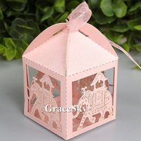 Wholesale Laser Cut Boxes Designs - 100pcs lot Laser Cutting Indian Style Elephant Design Paper Chocolate Candy Boxes Paper for Wedding Brithday Party Decoration,Free shipping