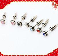 Wholesale Mix Colors Fake Tapers - 6 pair mixed colors men women fashion new fake ear tapers ear expanders diamonds cheater ear strtetchers body jewelry ear plug pirecing