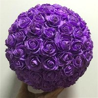 Wholesale Hanging Foam Balls - 2017 High quality Artificial Glitter foam rose hanging decorative flower ball for Wedding decoration *Free Shipping*