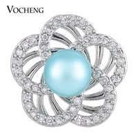 Wholesale Cz Pearl - VOCHENG NOOSA CZ Stone Pearl Snap Jewelry 2 Colors Luxury 18mm Flower Charm Button Vn-1283