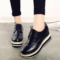 Wholesale- 2016 Spring Women Oxfords Sapatos Couro Lace Up Shoes Mulher Plataforma Sapatos Black Creepers Ladies Flats Zapatos Mujer White 3470