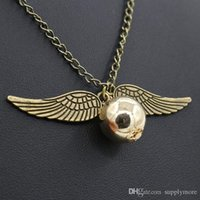 Wholesale Cooper Antique - 2016 Harry Potter snitch silver wing necklace pendant link chains sweater chain necklace antique cooper antique silver necklaces
