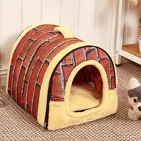 ingrosso borse da viaggio-Caldo !!! Dog House Kennel Nest con stuoia pieghevole Domestico Letto per cani Letto per gatti per cani di piccola taglia Corsa per cani da viaggio Prodotto