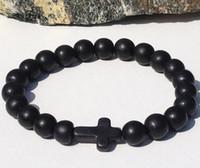 Wholesale Black Stone Cross Bracelet - SN0060 Wholesale Hand Work Black Onyx Beaded Bracelets Stone Cross Men Bracelet Wholesale Free Shipping