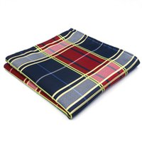 Wholesale Red Silk Handkerchief - UH21 Red Wedding Gold Checked Mens Pocket Square Fashion Classic Handkerchief Silk Dress Wedding Large Brand New Hanky