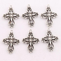 Wholesale Cross Pendants Beads - 100pcs lot Antique Silver Filigree Heart Cross Religious Spacer Charm Beads Pendants Alloy Handmade Jewelry DIY L425 20.5x27.9mm