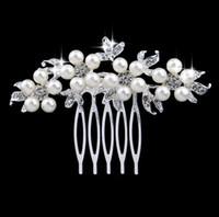 Wholesale Head Charms Hair Crystals - Charm Flower Rhinestone Hair comb Flower Head Piece Pearl Wedding Hair Comb Clip Crystal Bridal Hairpin Jewelry Hair Accessory