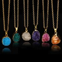Wholesale agate druzy gold pendant resale online - Quartz Crystal gold plated blue agate sliced Irregular Natural stone necklace amp pendants chain necklace Druzy Jewelry