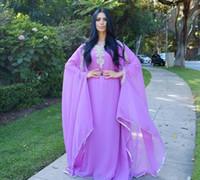 Wholesale Greek Style Evening Gowns - Crystals Long Evening Dresses Dubai Long Sleeves Light Purple Chiffon Women Formal Gowns Kaftan Muslim Cheap Goddess Greek Style Vestidos