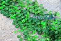 Wholesale climbing wall decor online - 250 cm long Artificial Silk Simulation Climbing Vines Green Leaf Ivy Rattan for Home Wall Decor Bar Party Decorations supplies