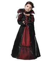 Wholesale Kids Vampire Costumes - Children Girls Princess Vampire Costumes Childrens Day Halloween Costume For Kids Long Dress Carnival Party Cosplay C36103