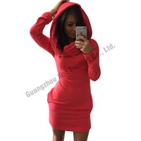 Wholesale Wholesale Sexy Hip Hop Dresses - Wholesale- New Women Hoodies Long Hoodie Dress Long Sleeve Sweatshirt Pluse Size Sexy O-Neck Hoody Sweatshirts Hip Hop Winter Women Dresses
