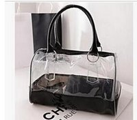 Wholesale Plastic Beach Totes - Fashion women candy color transparent bag Clear beach bags PVC leather bag shopping bag See-thru Bag Handbag Tote Purse PVC Plastic 5 colors
