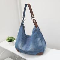 Wholesale Jean Shoulder Bags - Large Denim Ladies Handbags Women Bag Big Hobo Purses and Hand bags Jean Shopper Tote Luxury Designer Bag Crossbody Shoulder Bag