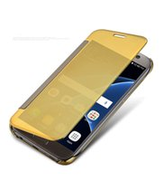 зеркальный флип кожаный чехол оптовых-Пробуждение сна Clear View Smart Mirror флип PU кожаный чехол для Samsung Galaxy Note 5 S6 S7 Edge Plus в розничной упаковке