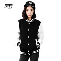 Wholesale Hoodie Korea Cute - Wholesale- spring and autumn women sweatshirt lovers baseball uniform outerwear patchwork jacket korea cute thin short casual hoodies