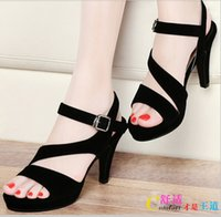 Wholesale Ladies Retro Sandals - 2016 New Summer Women's Fashion Retro Trend High-Heeled Sandals Ladies Sexy Hollow Up Fish Head Shoes Girls Lovely Peep-toe Sandals