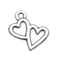 Wholesale 14k jewelry findings resale online - mm Antique Silver Plated Small Double Heart Bracelet Finding Charms jewelry making