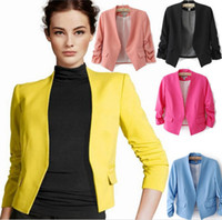 Wholesale Hot Sale Women s Blazer Jackets Spring New Solid Color Suit Ruched Sleeve Slim Fit Thin Coat Cardigan Tops Drop Shipping L3501