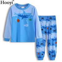 Wholesale pyjamas baby - Hooyi Blue Shark Boys Pajamas Clothes Suits Autumn Spring 2 3 4 5 6 7Year Children Pyjamas Sleep Suit Cotton Baby Girl Pijamas