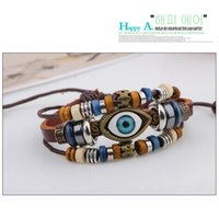 Wholesale Wholesale Leather Bracelets For Beads - New Arrival Men Handmade Leather Bracelet Cool Coffee Alloy Jewelry Hand Chain Blue Eyes Beads Jewelry For Gifts YC2034