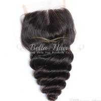peru saçı gevşek dalga üst kapatma toptan satış-4 * 4 Orta Kısmı Gevşek Dalga Üst Kapatma Saç Adet Doğal Renk Perulu İnsan Saç Uzantıları Ücretsiz Kargo