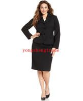 Wholesale Washable Skirting - Plus Size Black Suit Plus Size Skirt Washable Double-Slit Pencil Custom Made Women Suit Notch Lapel Flap Pocket HS7959