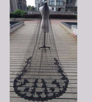 Wholesale Cathedral Veil Black - Long Black Veils Black Wedding Veils Lace Edge Tulle 3m Long Cathedral Bridal Veil Velos De Novia