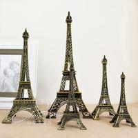 эйфовая модель оптовых-Винтажный дизайн 3D Париж Эйфелева башня металлическая модель бронзовый цвет дома Ремесло для свадьбы подарок съемки реквизит украшения дома поставки