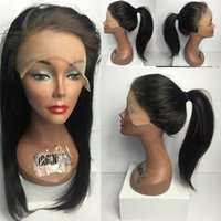 Wholesale Black Ponytails Hairstyles - 8A Grade Lace Front Human Hair Wig Silk Top Full Lace Wigs Silky Straight Can Be High Ponytail With Baby Hair For Black Woman