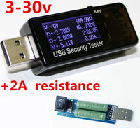 Wholesale Usb Detector Voltage Current Meter Tester - 3- 30V USB LCD Current Voltage Charger Capacity meter tester voltage current mobile detector with 2A resistance