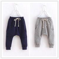 Wholesale Children Boy Pants Pocket - Calf-Length Boys Harem Pants Kids Sport Hot Shorts Pant Children Clothes Terry Baby Boy Clothing Grey Navy 2 3 4 5 6Year Brand