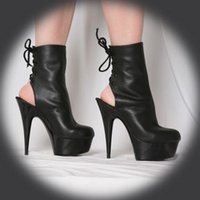 Wholesale Super Tall Heels - 15 cm boots classic 6 inches tall women's boots dark black cool fashion boots boots super high heels