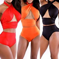 Wholesale Crochet Swimsuit Plus Size - Women's Swimming Suit High Waist Bikinis Set Swimsuit Push up Swimwear Crochet Bathing Suits Plus Size New Sexy Bandage bikini