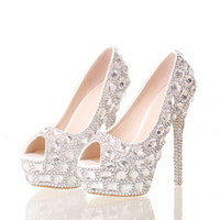 Wholesale High White Crystal Sexy Wedges - New Fashion Sexy Women Rhinestone Wedding Shoes Peep Toe Platform Pumps High Heels Crystal Shoes Party Dress Ladies Pumps