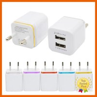 Wholesale Car Home Wholesale Uk - for iPhone 7 US EU Universal Home Travel Dual Port AC USB Wall Charger For iPhone 7 6 6s Plus Samsung Android Phone