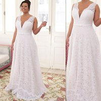 Wholesale Maxi Skirt Side Split - Plus Size Wedding Dresses 2017 White Lace Sexy Deep V Neck Bridal Gowns With Sash Bow Maxi Size Dress For Fat Brides
