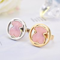 Wholesale Panda Tops - New 4 color Top Quality Gold Silver plated panda style Fashion Brand Jewelry Stainless Steel round style acrylic Ring Wholesale OSOS Anillon