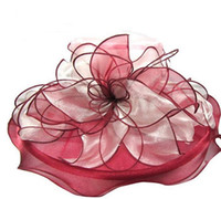 Wholesale Sailor Wedding Dress - NEW Women Fascinator Oranza Flower UV proof Wide Brim Hat Kentucky Derby Church Evening Dress Hat Cocktail Party Bridal Wedding cap Sunhat