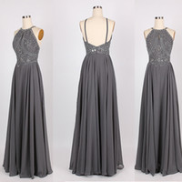 Wholesale Kleider Prom - Silver Long Chiffon Prom Dresses 2016 Jewel Crystal Backless Beaded Prom Dress Kleider Women Events Party Evening Gowns Robes Courtes Mauve