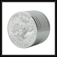 Wholesale United Parts - Wholesale Metal Grinders 3 Part Layers United States One Dollar Coin Herb Grinder 3pc 42mm Diametre Mini Size Tobacco Smoking Hand Mullers