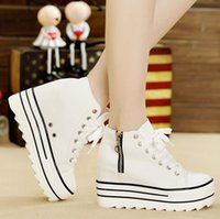 Wholesale Elevator Sneakers - Sneakers Fashion Womens High Heeled Platform Sneakers Canvas Shoes Elevators White Black High Top Casual Woman Shoes With Zipper