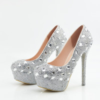 Wholesale Bling Rhinestone Wedding Shoes Sliver Beaded Bridal shoes Elegant Prom Party Event Wear Size to