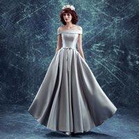 Wholesale Grey Peplum Dress - Robe De Soiree 2016 New Elegant Simple Grey Boat Neck Off-the-shoulder A-line Long Evening Dress Bride Sexy Party Formal Dresses
